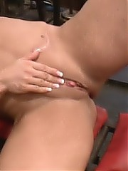 Wende - her muscles are getting bigger and so is her clit